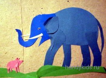 Аппликация Слон и Свинка