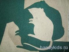 Вырезание силуэта мышки из бумаги без рисунка