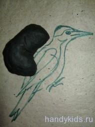 Поэтапная лепка птицы.Дятел.