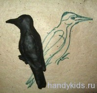 Лепка птицы Дятла