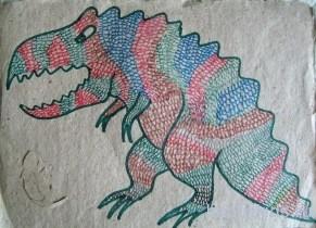 разукрашенный тиранозавр