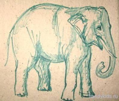 Индийский слон -рисунок -7