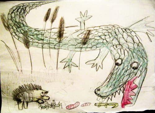 Крокодил и Ёж иллюстрация