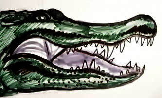 Рисунок головы крокодила.