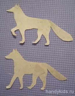 Вырежем фигуры лисы и волка