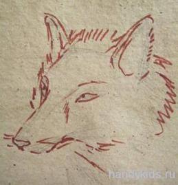 Рисованная мордочка лисы