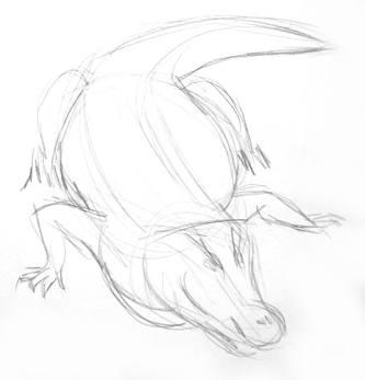 Крокодил рисунок карандашом