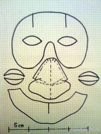 Нос бабы яги из бумаги поэтапно