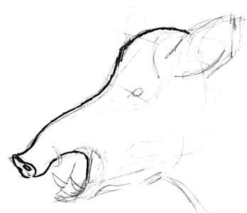 Рисуем голову кабана сбоку