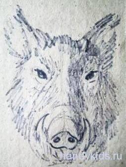 Голова кабана риснок-2