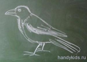 Нарисованная ворона