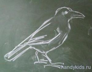 Как рисовать птицу ворону поэтапно