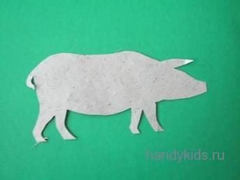 Силуэт свиньи из бумаги