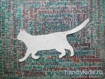 Вырежем из бумаги идущую кошку