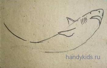 Рисуем спинные плавники  акулы