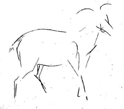 Рисунок козла - этап 2