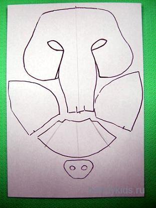 Выкройка для маски кабана