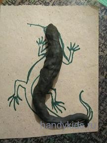 Поэтапная лепка ящерицы