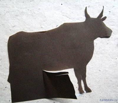Вырезаем силуэт коровы