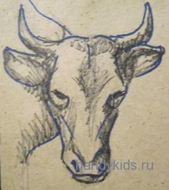 Голова быка рисунок