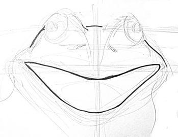 Рисуем голову лягушки поэтапно