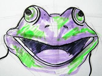 Рисунок  голова лягушки в цвете