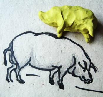 Как слепить свинку из пластилина.
