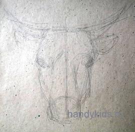 Как нарисовать морду быка