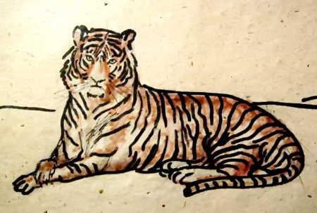 Рисунок тигр лежит