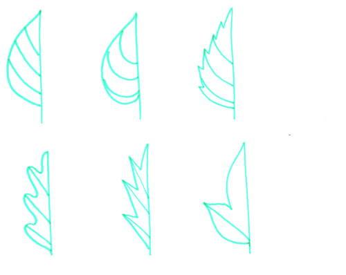 Симметрия листьев - штриховка