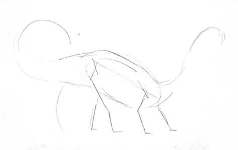 Набросок динозавра карандашом