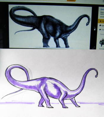 Способ нарисовать диплодока
