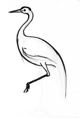 Второй этап рисования журавля
