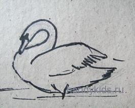 Лебедь-рисунок