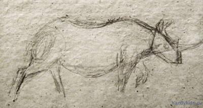 Носорог - рисунок карандашом