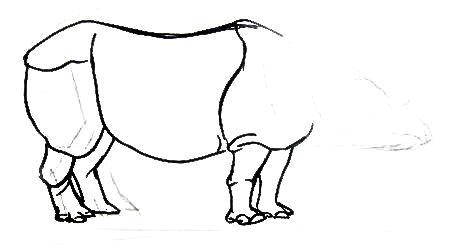 Рисуем индийского носорога