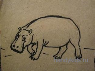 Бегемот-рисунок