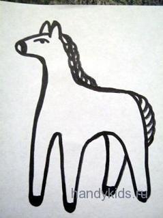 Дымковская лошадка-раскраска