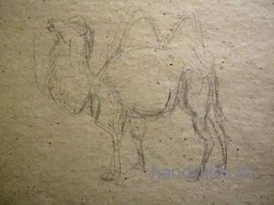 Карандашный эскиз  фигуры верблюда