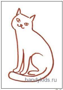 Раскраска котик сидит