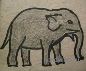 Образец выполнения раскраски Слон