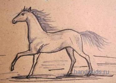 Урок поэтапного рисования.Лошадь.