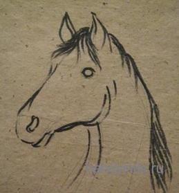 Рисуем голову коня.