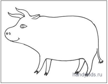 Раскраска Корова и работа с ней