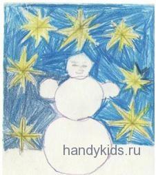 """Раскраска """"Снеговик и звёзды"""""""