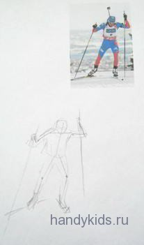 Как рисовать спортсмена-лыжника
