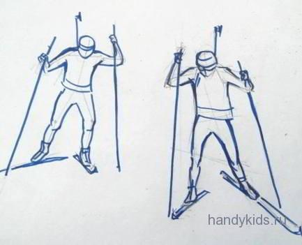 Движение лыжников при ходьбе