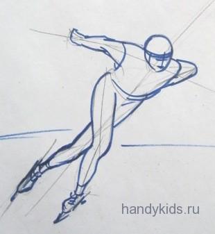 Как нарисовать конькобежца