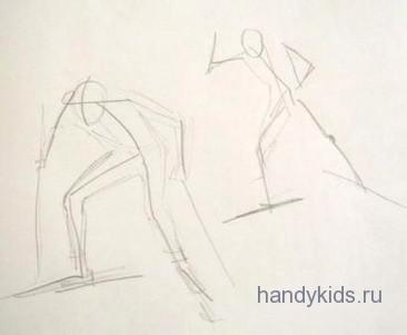 Рисуем лыжников