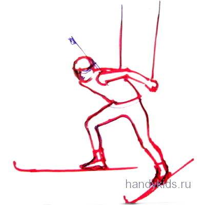 Рисунок -биатлонист бежит на лыжах